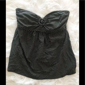 DKNY Strapless Flowy Tankini Top Black Dots L